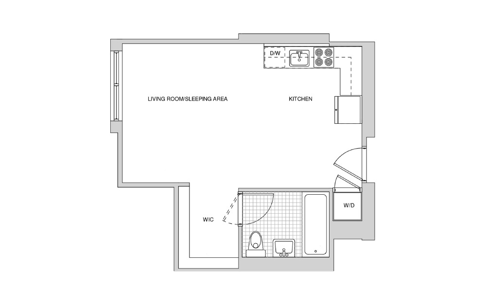 108, 408, 509 - Studio floorplan layout with 1 bath and 408 square feet.