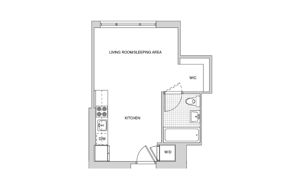 201, 301, 401, 501 - Studio floorplan layout with 1 bath and 416 square feet.