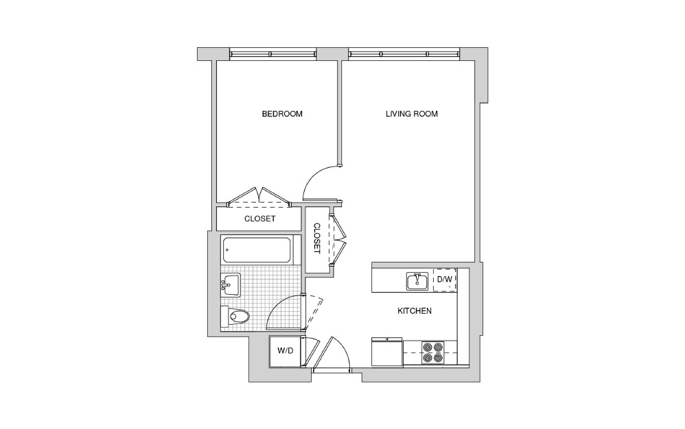202, 302, 402, 502 - 1 bedroom floorplan layout with 1 bath and 591 square feet.