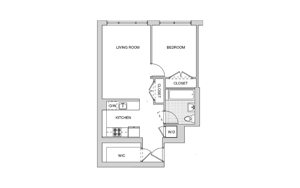 203, 303, 403, 503 - Studio floorplan layout with 1 bath and 693 square feet.