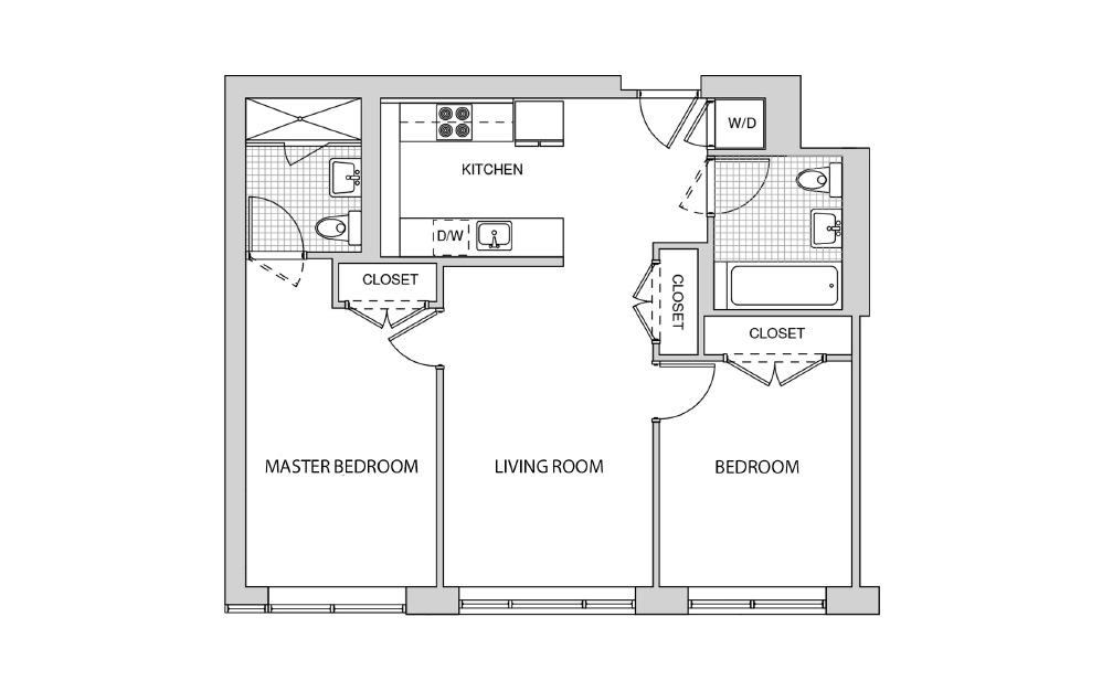 204, 304, 404, 504 - 2 bedroom floorplan layout with 2 baths and 897 square feet.