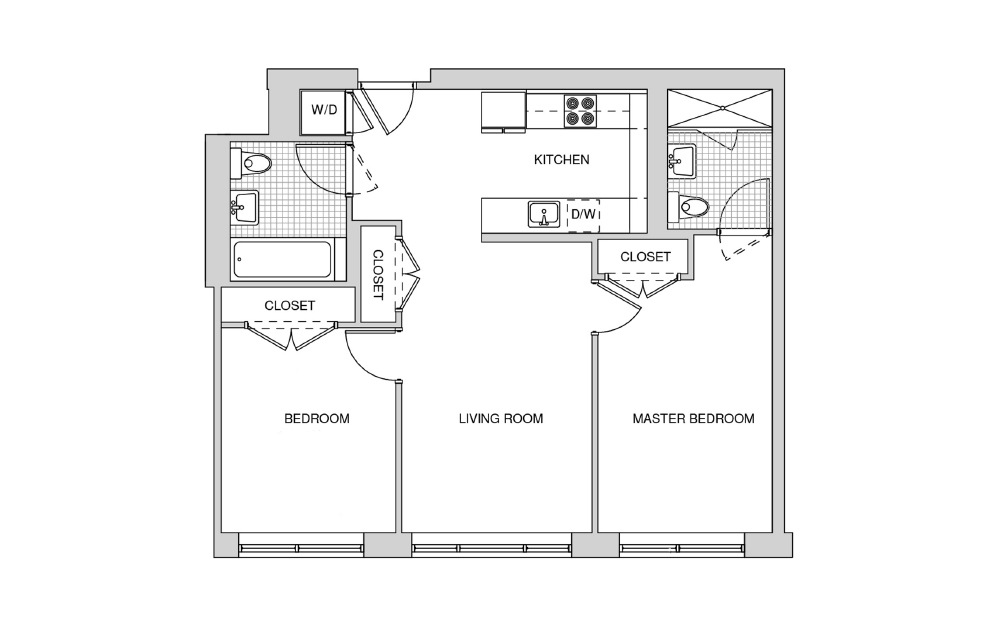 205, 305, 405, 505 - 2 bedroom floorplan layout with 2 baths and 877 square feet.