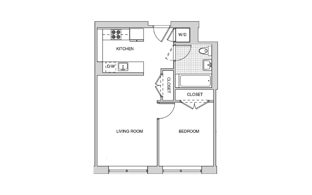 206 - 1 bedroom floorplan layout with 1 bath and 596 square feet.