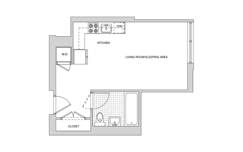207, 307, 407, 508 - Studio floorplan layout with 1 bath and 408 square feet.