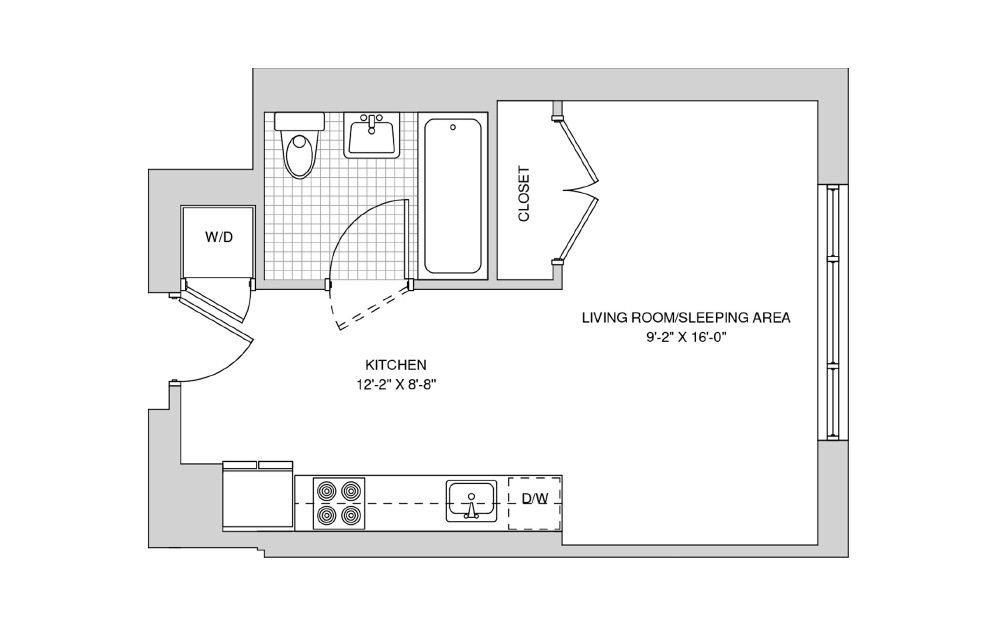 209, 309, 409 - Studio floorplan layout with 1 bath and 405 square feet.