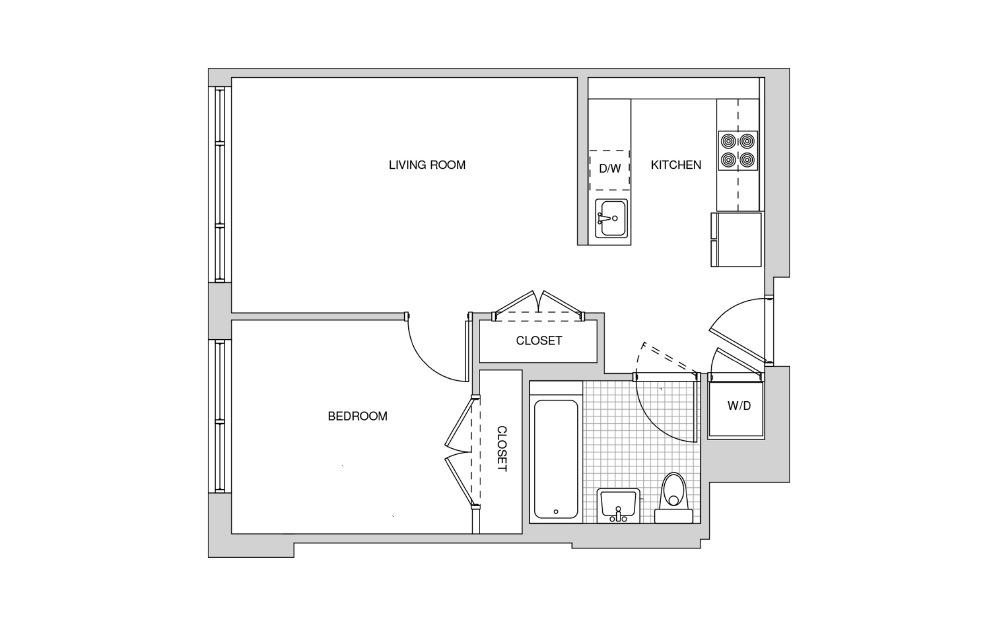 210, 310, 410, 511 - Studio floorplan layout with 1 bath and 581 square feet.