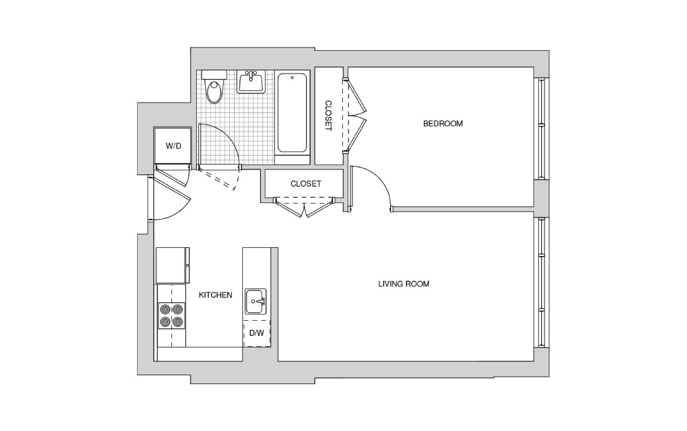 211, 311, 411, 512 - 1 bedroom floorplan layout with 1 bath and 623 square feet.