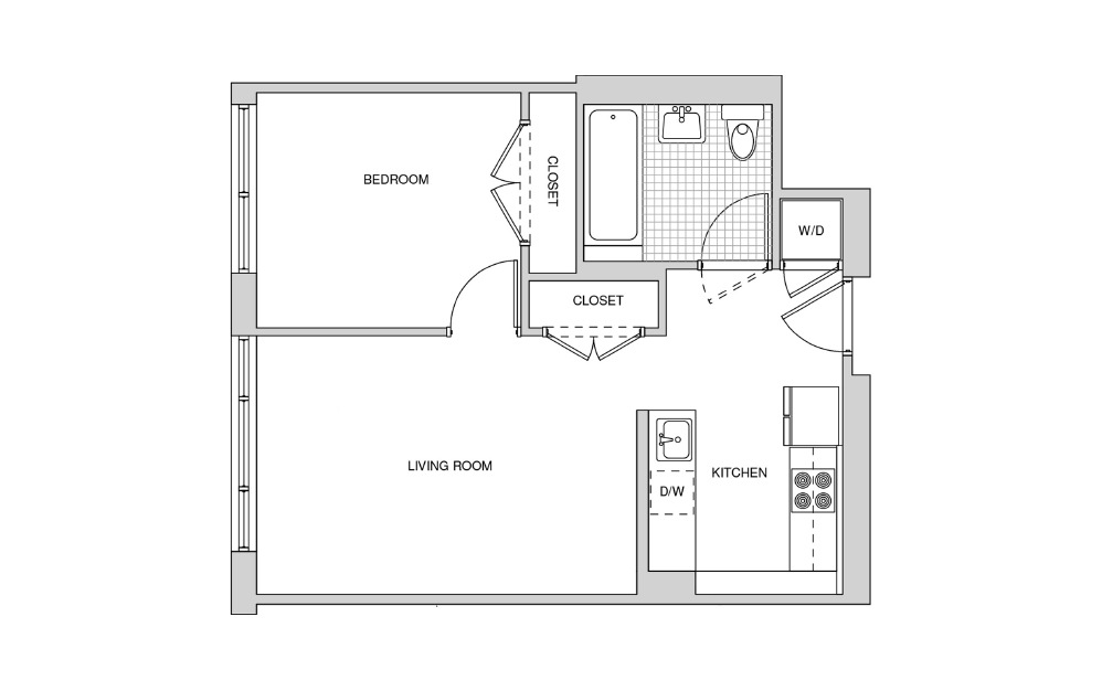 212, 312, 412, 513 - 1 bedroom floorplan layout with 1 bath and 578 square feet.