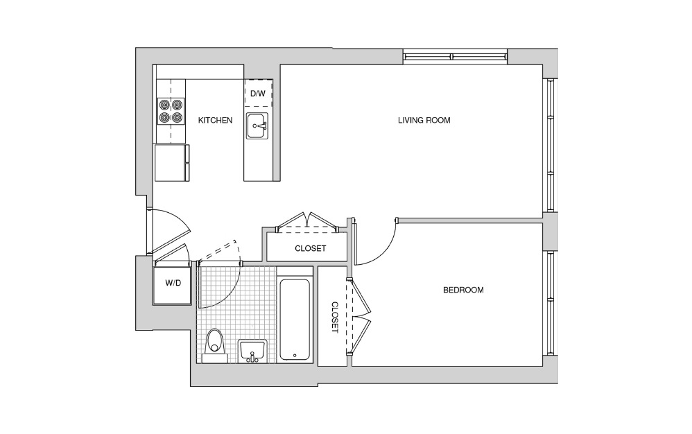 213, 313, 413, 515 - 1 bedroom floorplan layout with 1 bath and 629 square feet.