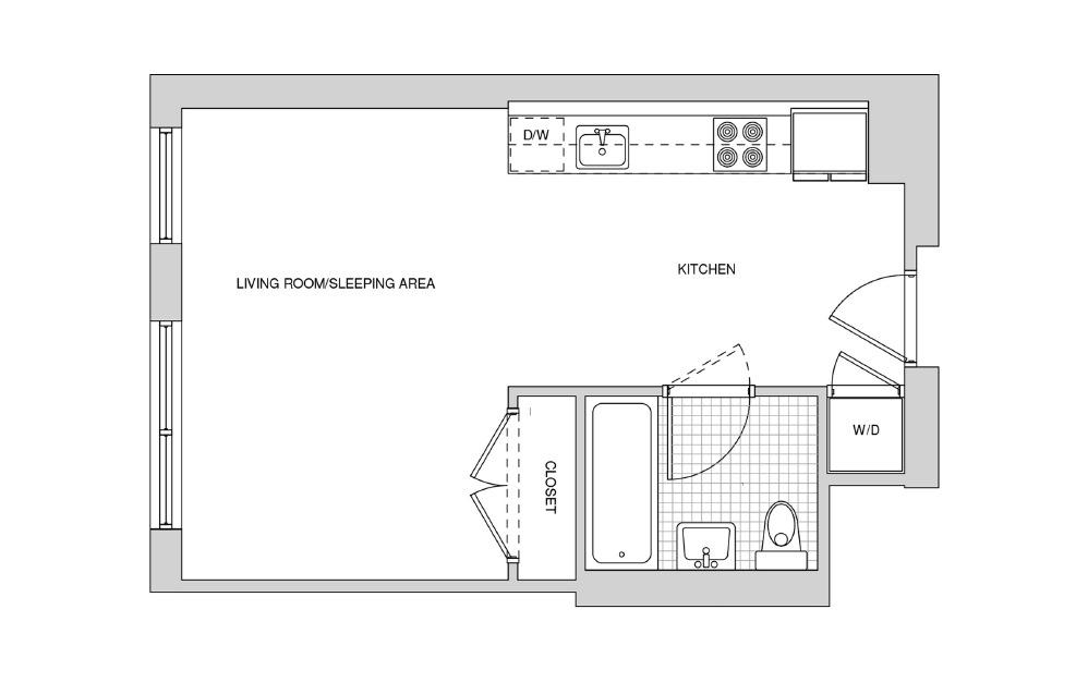 214, 314, 414, 514 - Studio floorplan layout with 1 bath and 453 square feet.