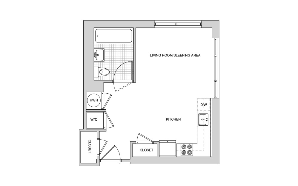 216, 316, 416 - Studio floorplan layout with 1 bath and 439 square feet.