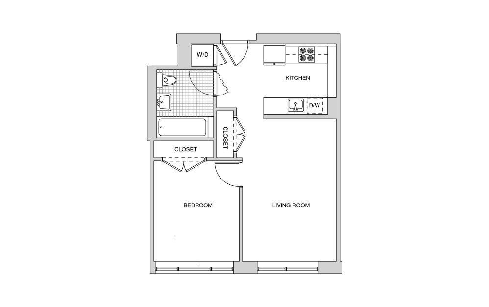 217 - 1 bedroom floorplan layout with 1 bath and 596 square feet.