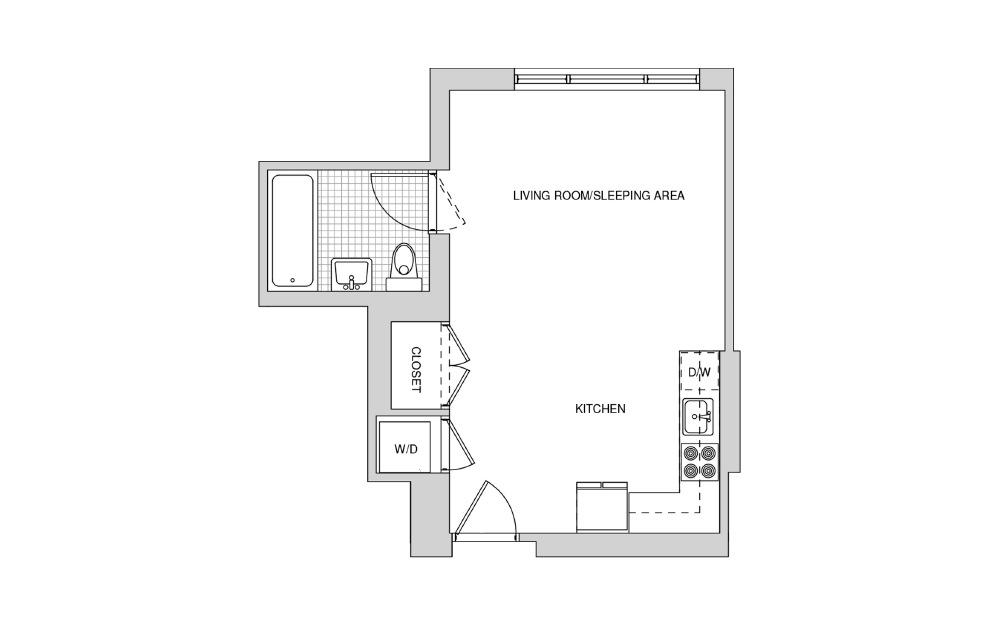 218, 318, 418, 517 - Studio floorplan layout with 1 bath and 437 square feet.