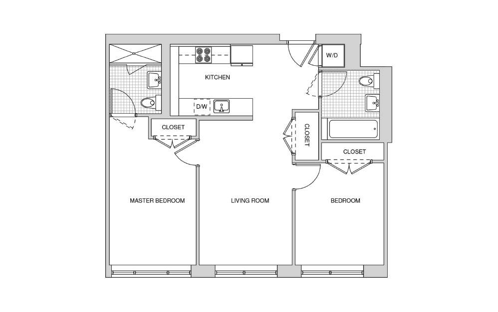 219, 319, 419 - 2 bedroom floorplan layout with 2 baths and 877 square feet.