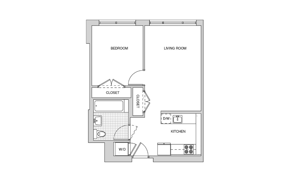 220, 320, 420, 518 - 1 bedroom floorplan layout with 1 bath and 592 square feet.