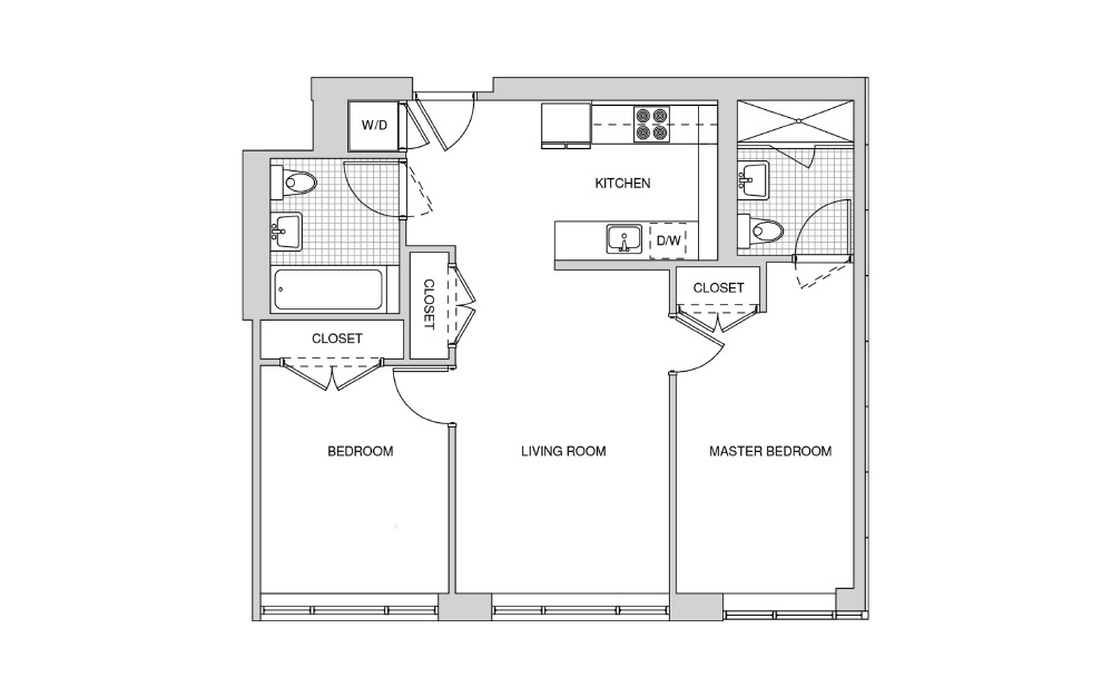 221, 321, 421 - 2 bedroom floorplan layout with 2 baths and 864 square feet.