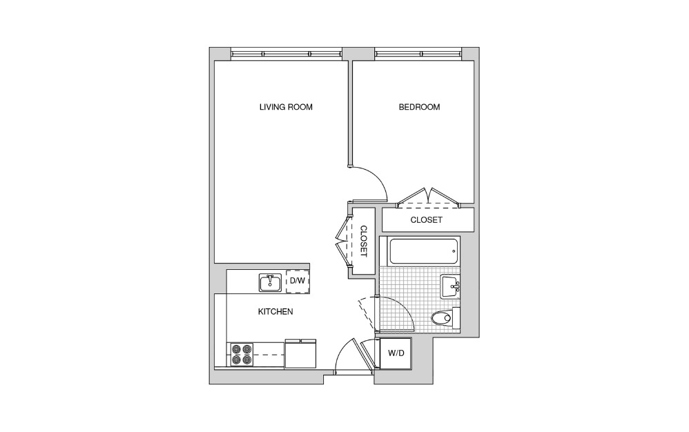 222, 322, 422, 519 - 1 bedroom floorplan layout with 1 bath and 585 square feet.