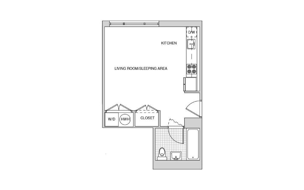 223, 323, 423, 520 - Studio floorplan layout with 1 bath and 426 square feet.