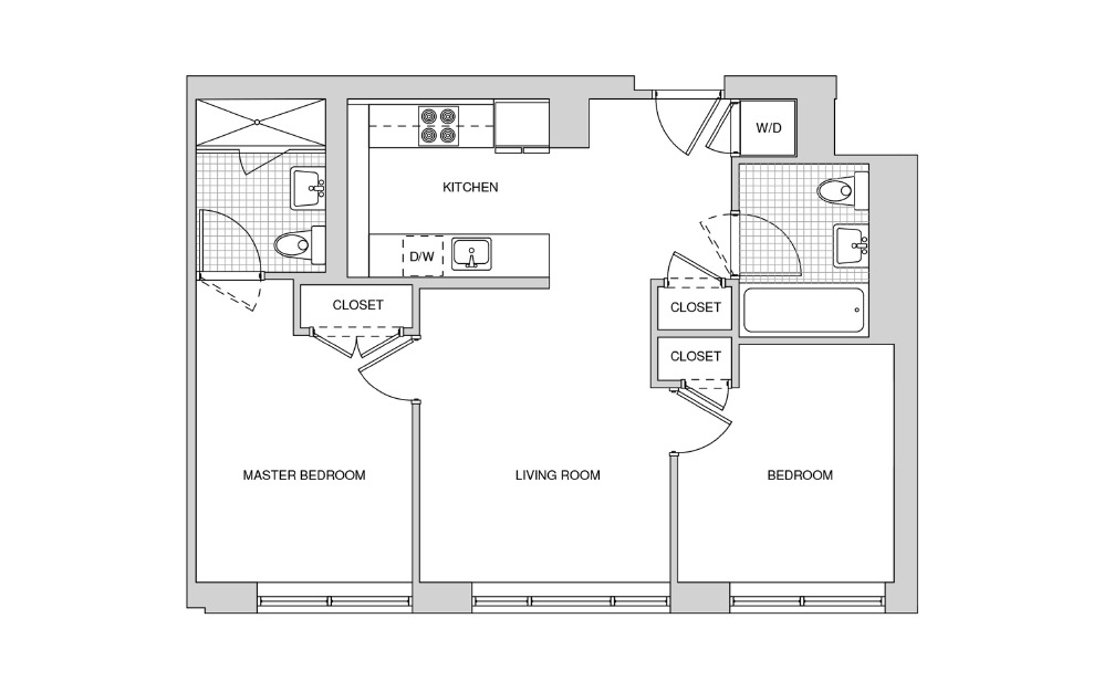 224, 324, 424, 521 - 2 bedroom floorplan layout with 2 baths and 815 square feet.