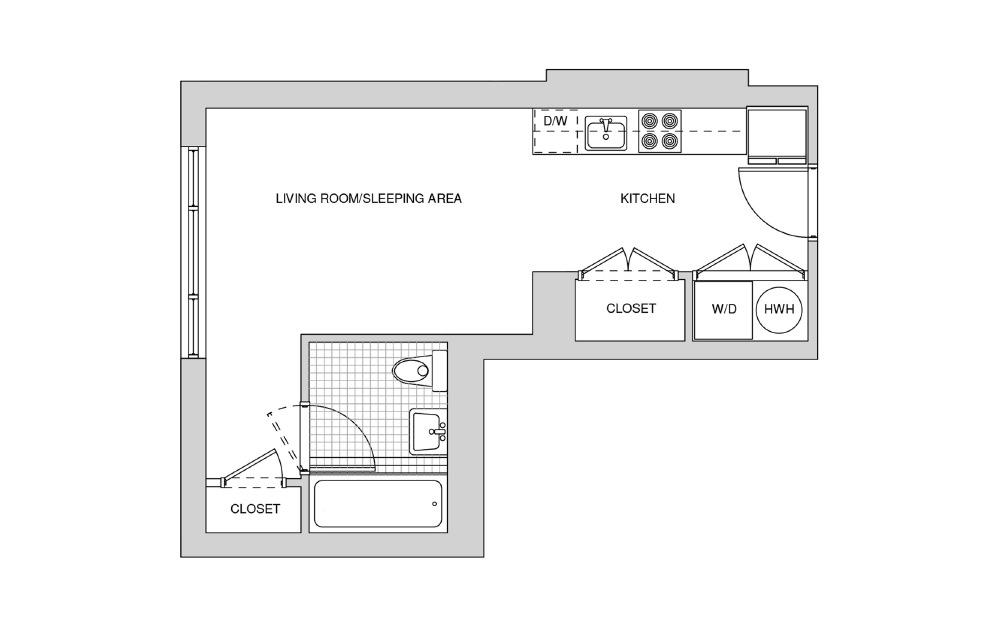 225, 325, 425 - Studio floorplan layout with 1 bath and 407 square feet.