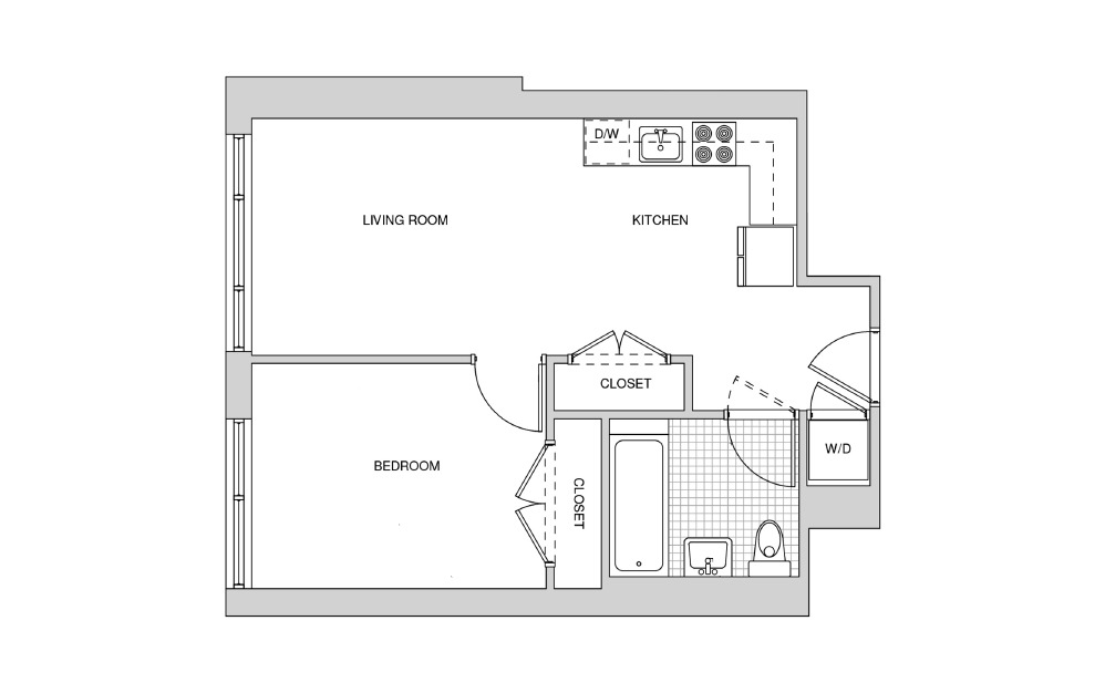 226, 326, 426 - 1 bedroom floorplan layout with 1 bath and 554 square feet.