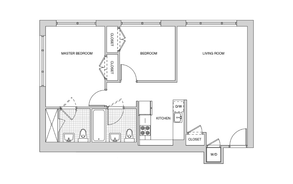 227, 327, 427 - 2 bedroom floorplan layout with 2 baths and 910 square feet.