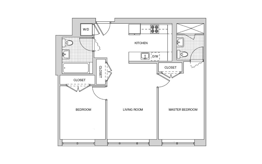 317, 417 - 2 bedroom floorplan layout with 2 baths and 877 square feet.