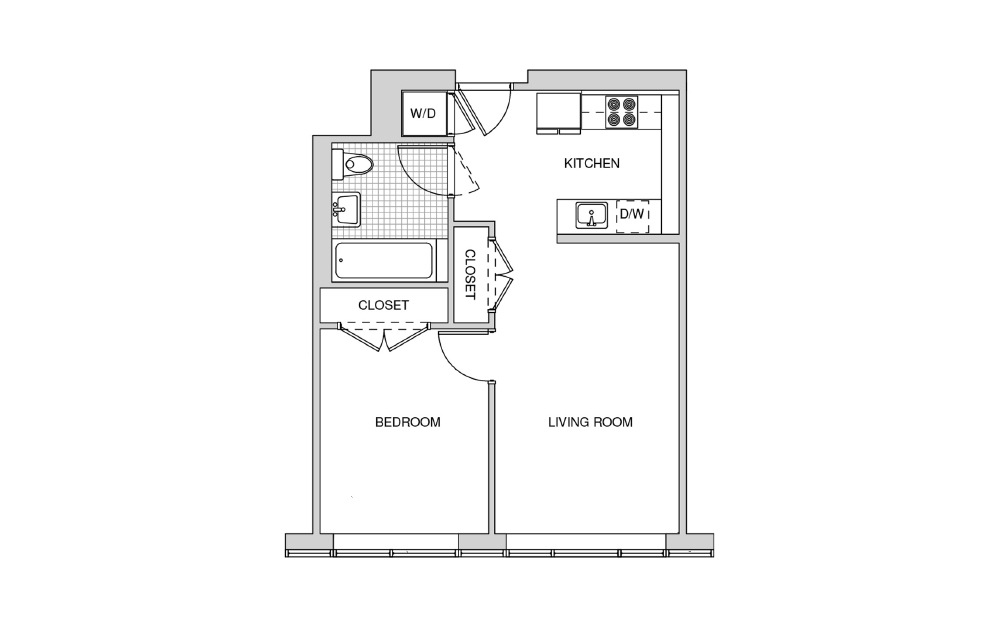 506 - 1 bedroom floorplan layout with 1 bath and 574 square feet.