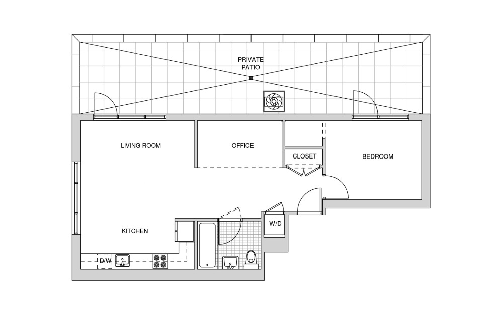 516 - 1 bedroom floorplan layout with 1 bath and 764 square feet.