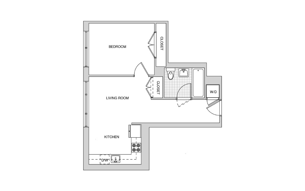 522 - 1 bedroom floorplan layout with 1 bath and 582 square feet.