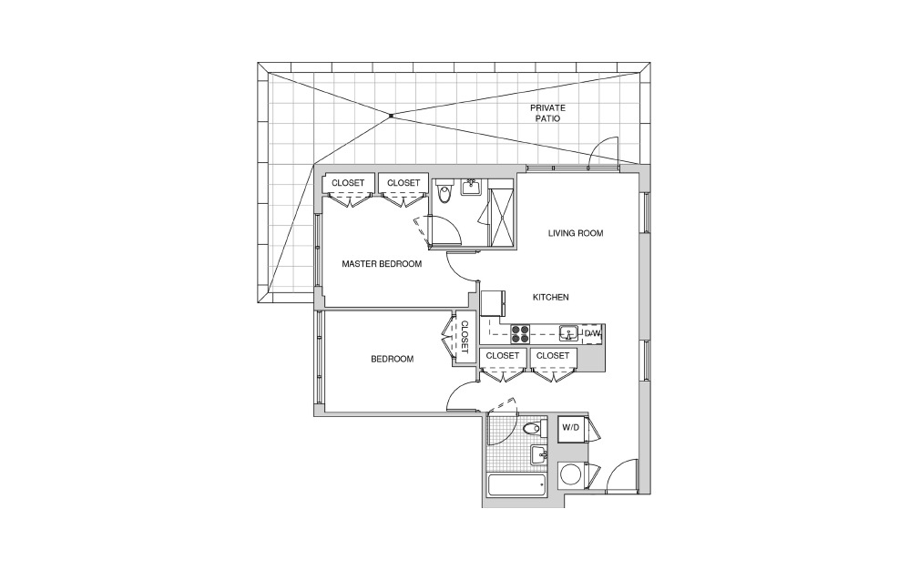 523 - 2 bedroom floorplan layout with 2 baths and 941 square feet.