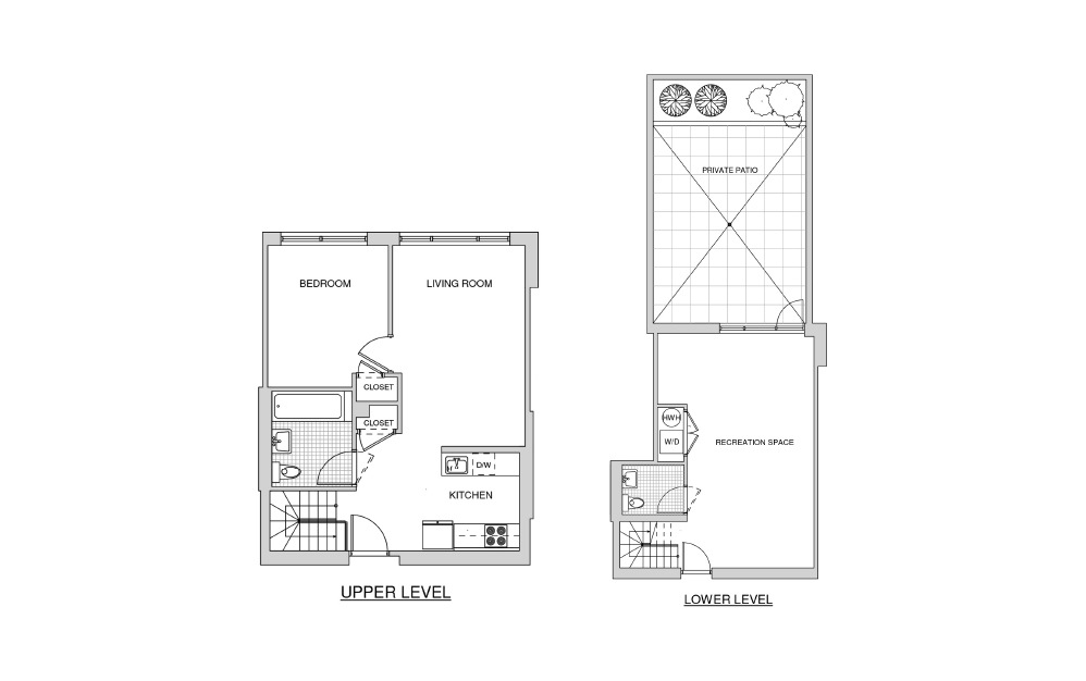 Duplex 102 with Patio - 1 bedroom floorplan layout with 1.5 bath and 1100 square feet.