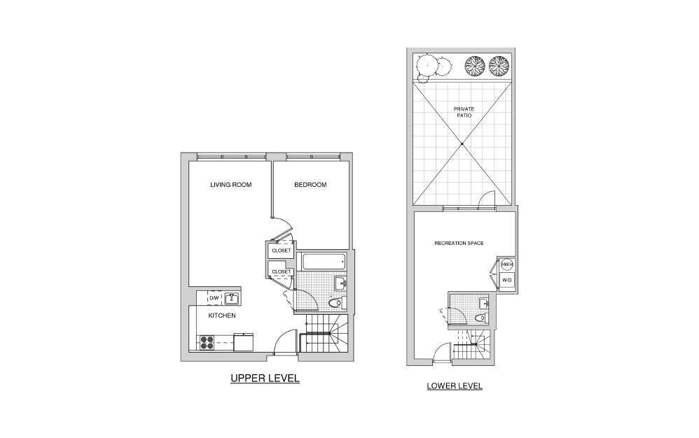Duplex 103 with Patio - 1 bedroom floorplan layout with 1.5 bath and 1073 square feet.