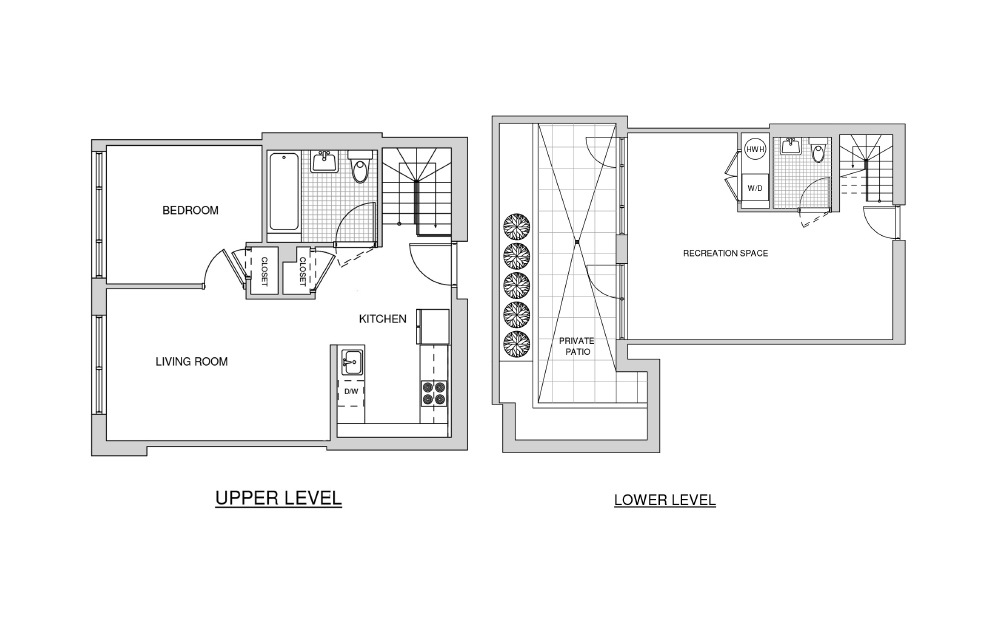 Duplex 110 with Patio - 1 bedroom floorplan layout with 1 bath and 1108 square feet.