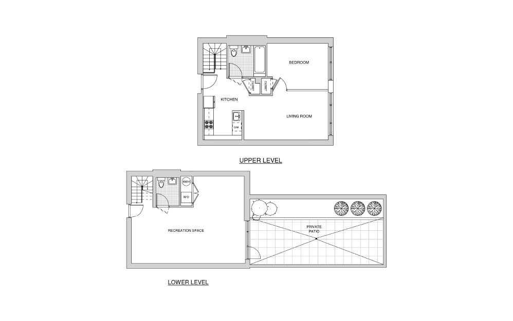 Duplex 111 with Patio - 1 bedroom floorplan layout with 1.5 bath and 1244 square feet.