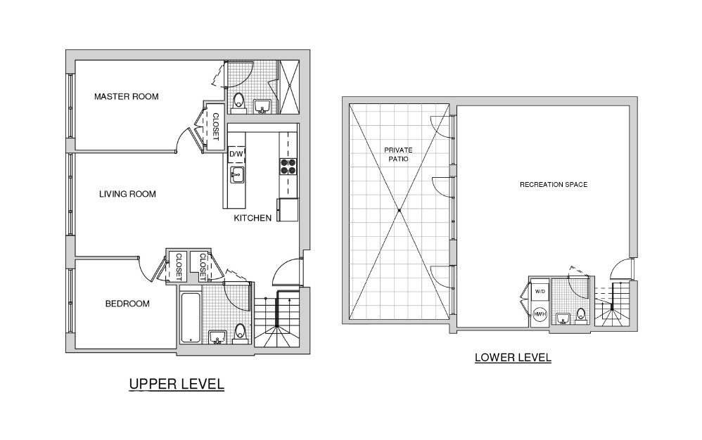 Duplex 112 with Patio - 2 bedroom floorplan layout with 2.5 baths and 1750 square feet.