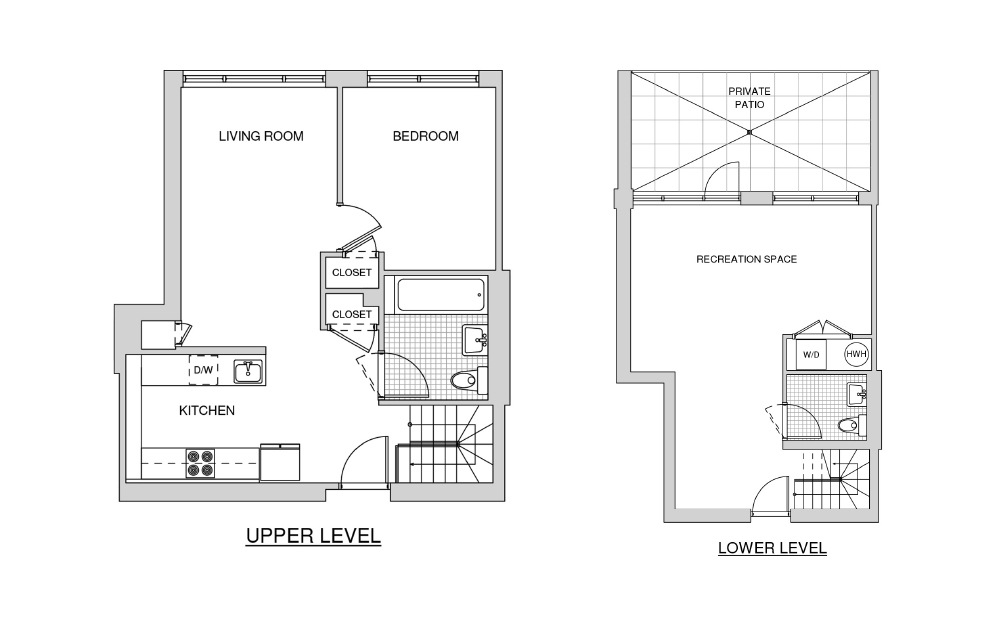 Duplex 118 with Patio - 1 bedroom floorplan layout with 1.5 bath and 1122 square feet.