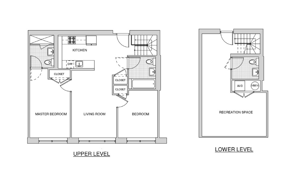 Duplex 119 - 2 bedroom floorplan layout with 2.5 baths and 1310 square feet.