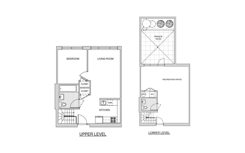 Duplex 120 with Patio - 1 bedroom floorplan layout with 1.5 bath and 1168 square feet.