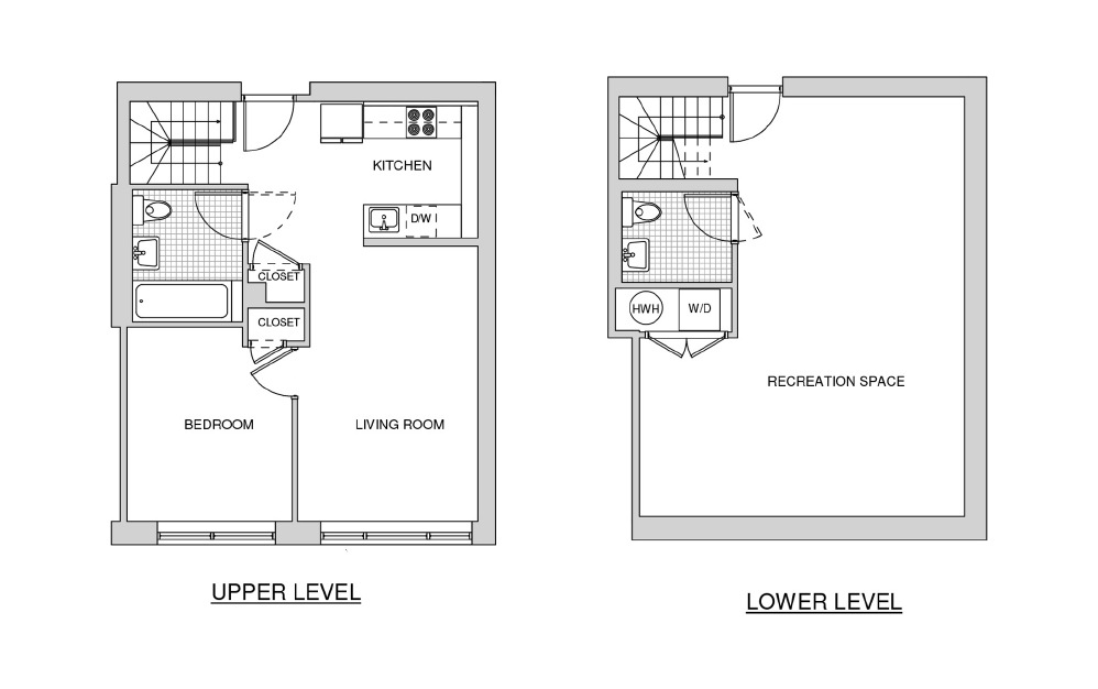 Duplex 121 with Patio - 1 bedroom floorplan layout with 1.5 bath and 1219 square feet.