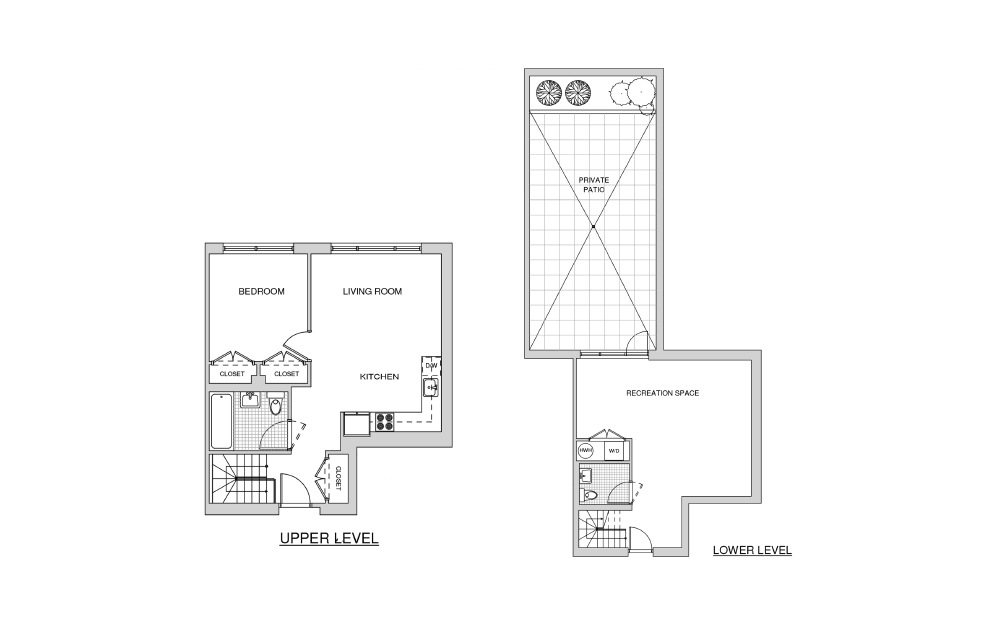 Duplex 122 with Patio - 1 bedroom floorplan layout with 1.5 bath and 1208 square feet.